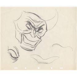 Collection of five Disney animation sketches of Bela Lugosi as Chernabog in Fantasia