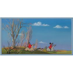 Mary Poppins original production cel of hunters on production background