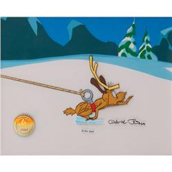 Original production cel and background from the 1966 animated feature How the Grinch Stole Christmas