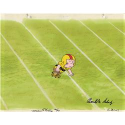 Charlie Brown original production cel signed by Charles Schulz, matched with original background