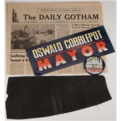 Swatch of faux leather used to create Batman's cape and other props from Batman Returns