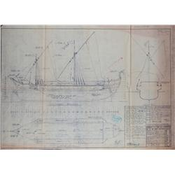 Collection of seven large blueprints of ships and armaments for the 1959 version of Ben-Hur