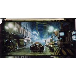 Frame blowup with matte painting concepts by Syd Mead from Blade Runner