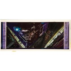 Frame blowup with original matte painting concepts by Syd Mead from Blade Runner