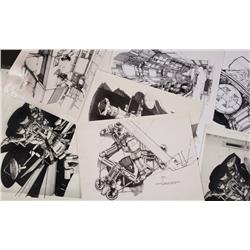 Collection of b&w print copies of various Syd Mead concepts from 2010