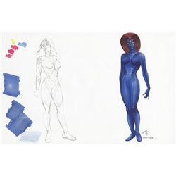 X-Men original concept artwork for Mystique by Tim Flattery