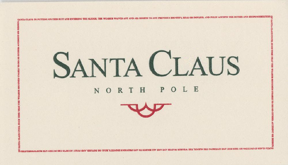 The Santa Clause Ii Prop Santa S Clause Card Signed By