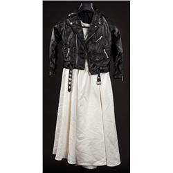 """""""Tiffany"""" dwarf actor-worn wedding dress and black leather motorcycle jacket from Seed of Chucky"""
