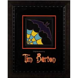 Original hand-painted bat and spider web tile by Tim Burton from his home