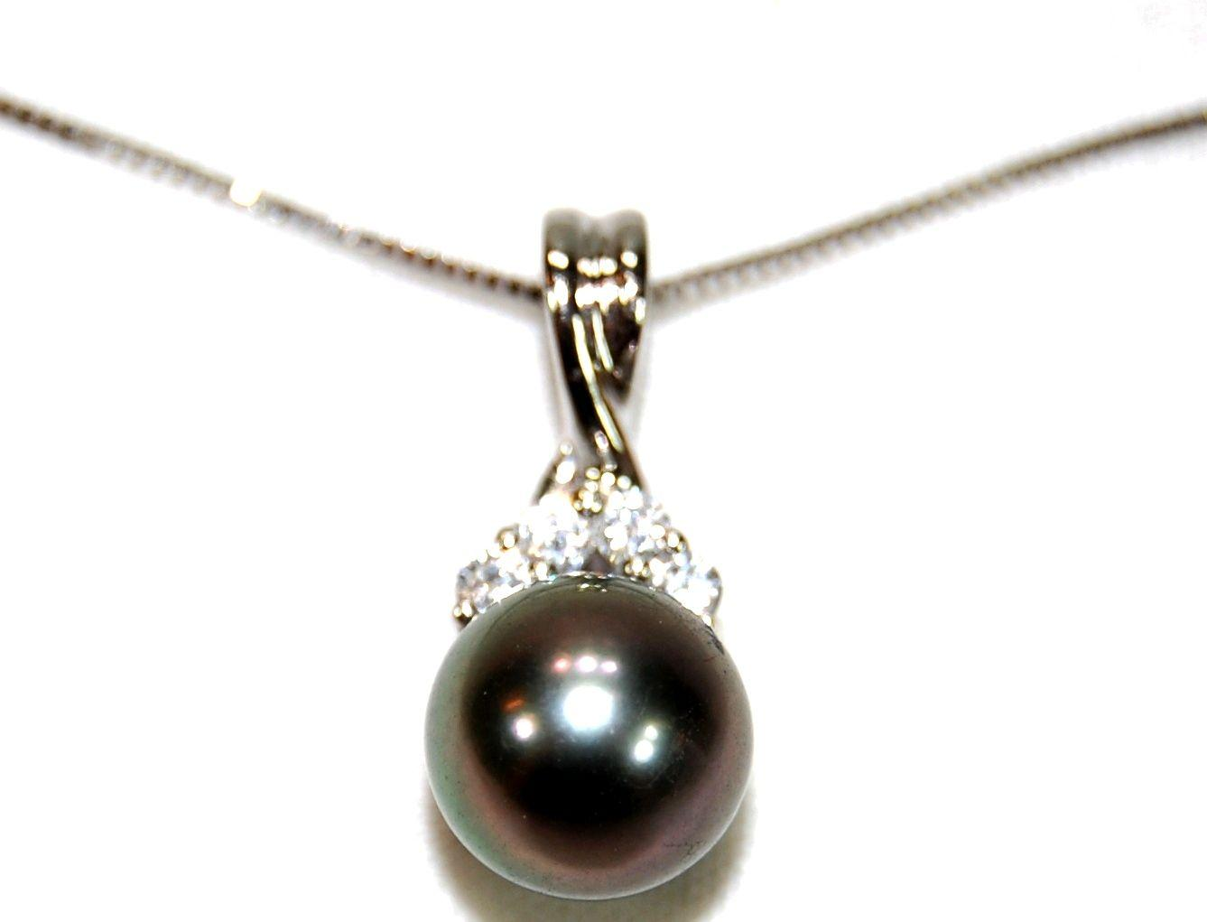 Tahitian black pearl diamond pendant with 14k whte gold necklace image 2 tahitian black pearl diamond pendant with 14k whte gold necklace aloadofball Gallery
