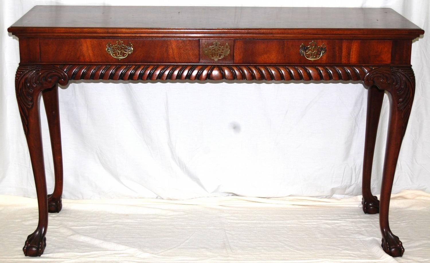 Image 1 : Mount Airy Furniture Company Sofa Console Table W/ Carved Ornate  Detail Work ...