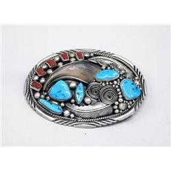Navajo Sterling Turquoise Coral &amp; Claw Belt Buckle