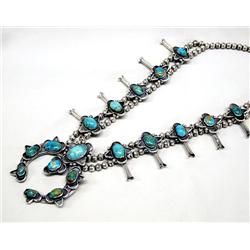 Navajo Squash Blossom Silver Turquoise Necklace