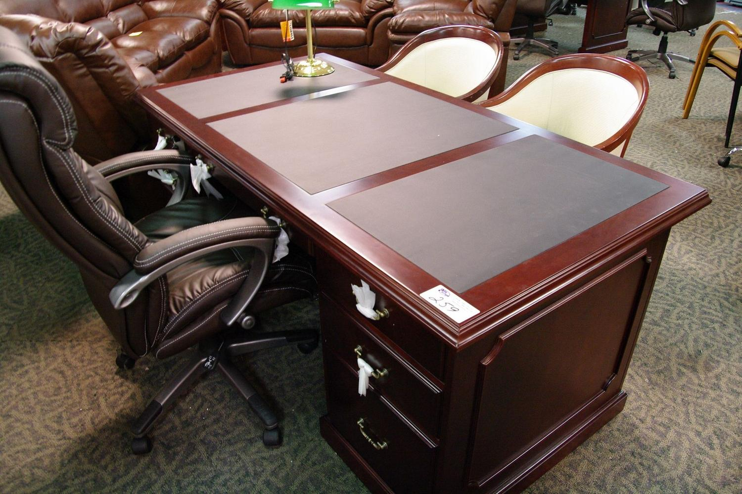 Black Leather Inlay Traditional Executive Desk