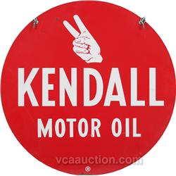 Kendall motor oil double sided round tin sign for Kendall motor oil distributors