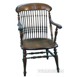 Early Tiger Oak Spindle Back Arm Chair