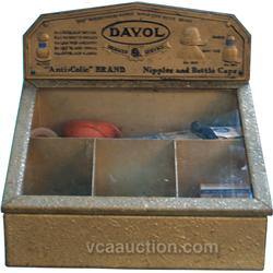 "Early Tin & Glass Countertop Country Store ""Davol"" Disp"