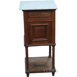 Early Oak & Marble Top Small Bathroom Cabinet