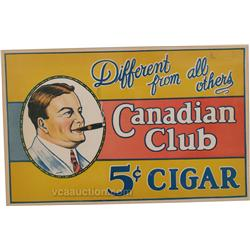 Canadian Club 5 Cent Cigar Cardboard Sign