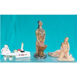 Lot Of 5 Ceramic, Chalkware Nude Lady Statues