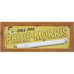 """Call For Philip Morris"" Cigarettes Embossed Tin Sign,"