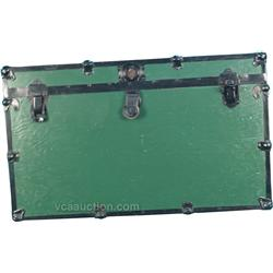 Green Painted Wood & Metal Trim Trunk