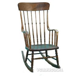 Early Oak Spindle Rocking Chair,