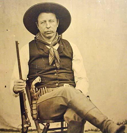 Rare Old West Tin Type Of Cowboy Holding Trapdoor