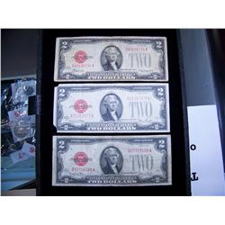 (3x the Money) $2 US Notes Series 1928 Red Seal