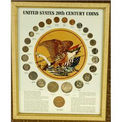 Collection of 4 framed coin sets including Lincoln Memorial Coins, Wartime Coinage, The Silver Story