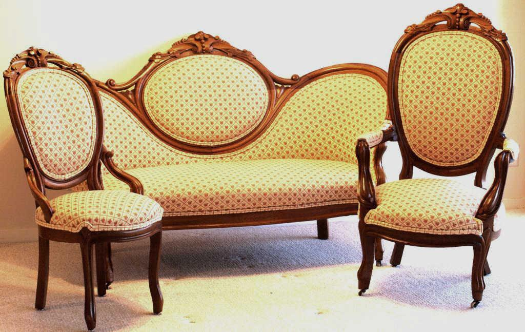 3 pc c 1880 39 s victorian walnut settee group including for Settee and chair set