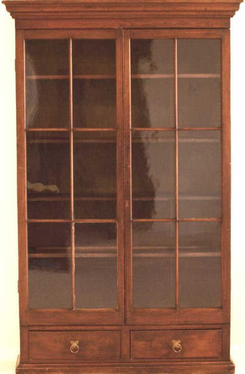 Early american walnut bookcase with double pane glass doors over 2 image 1 early american walnut bookcase with double pane glass doors over 2 drawers planetlyrics