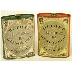 Collection of 2 Dupont Powder cans including one lithograph the second Green with 1924 paper label.