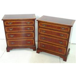 Pair banded mahogany bachelor chests