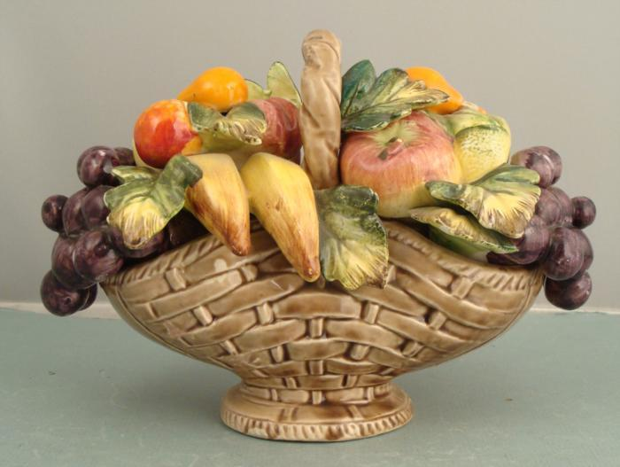 Sorrento Arnart Fruit Basket Ceramic Figurine Ltd Mij