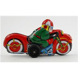 Tin Friction Motorcycle with Rider