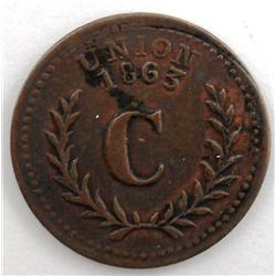 1863 Rhode Island Patriotic Civil War Token
