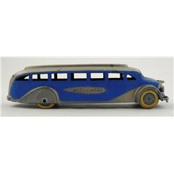 1937 TootsieToy Greyhound Bus with Tin Bottom & Original Paint
