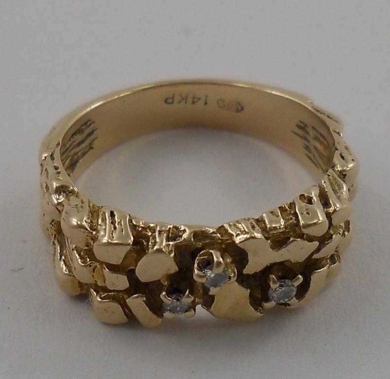 14k Gold Nugget Style Estate Jewelry Ring