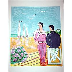 Couple a la Deauville - Signed Limited Edition Lithograph- Picot
