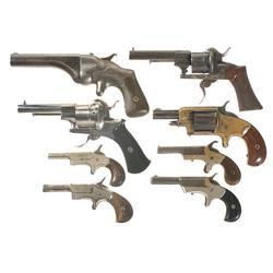 Three Antique Revolvers and Five Pistols
