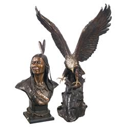 Bronze Bust of Geronimo and Bronze American Bald Eagle