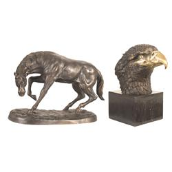 Two Animal Themed Bronze Statues
