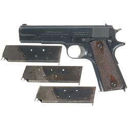 Early Production Colt Government Model Semi-Automatic Pistol with 3 Extra Magazines