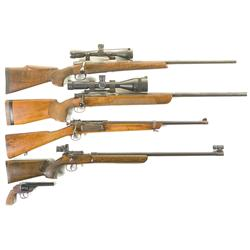 Four Bolt Action Rifles and One Revolver