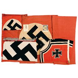Group of Nazi Flags, Banners, and Postcards