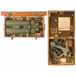 Japanese Sextant and Binoculars with Wooden Cases