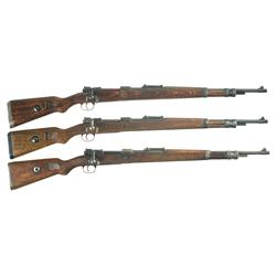 Three Nazi 98K Bolt Action Rifles
