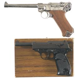 One Luger and One P38 Pistol