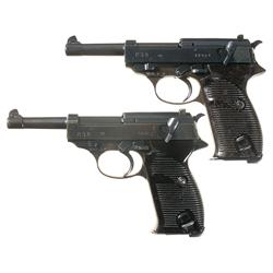"Two Spreewerke ""cyq"" Code P-38 Double Action Pistols"